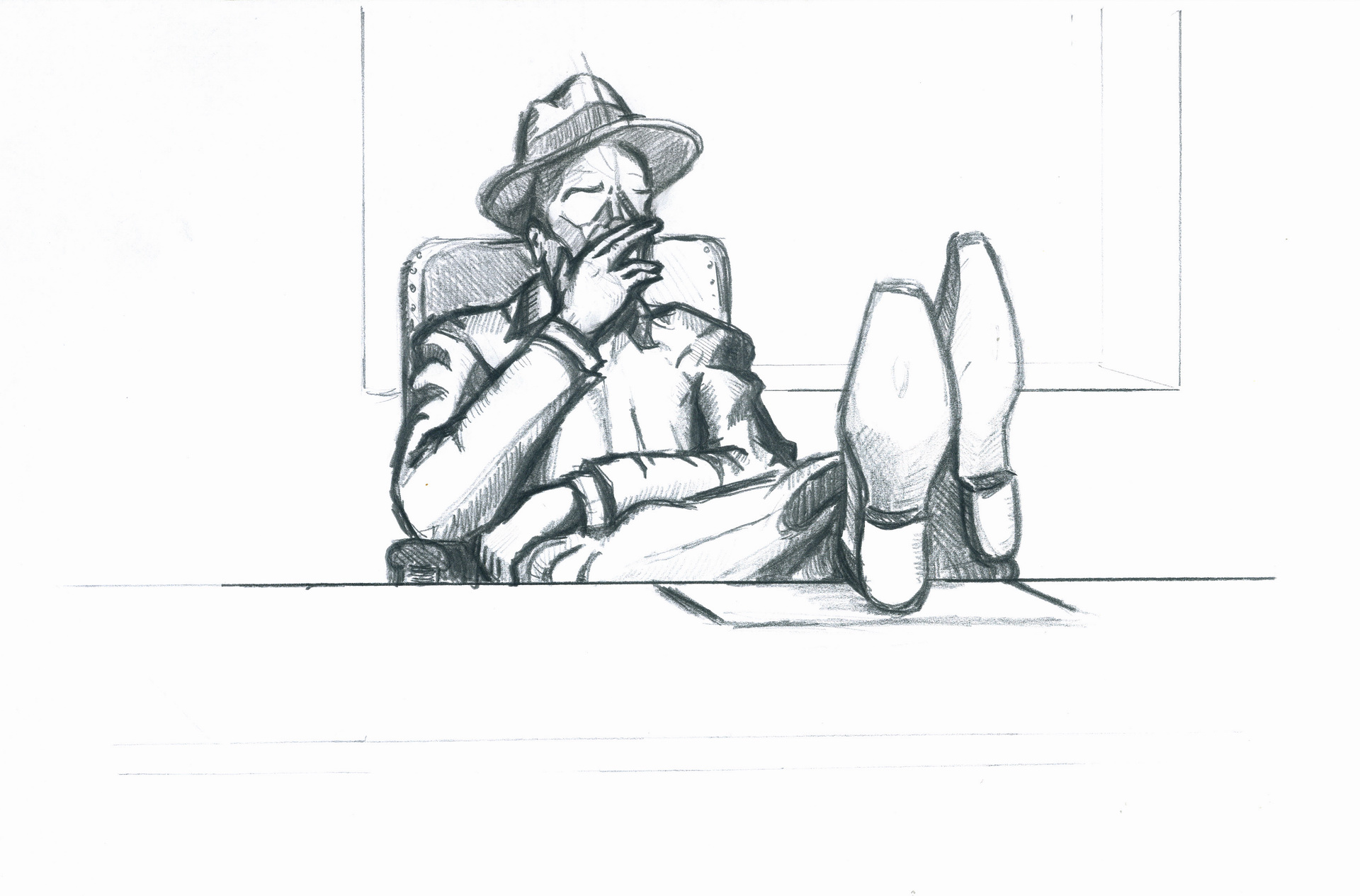 Drawing – Marlowe is sitting at the desk